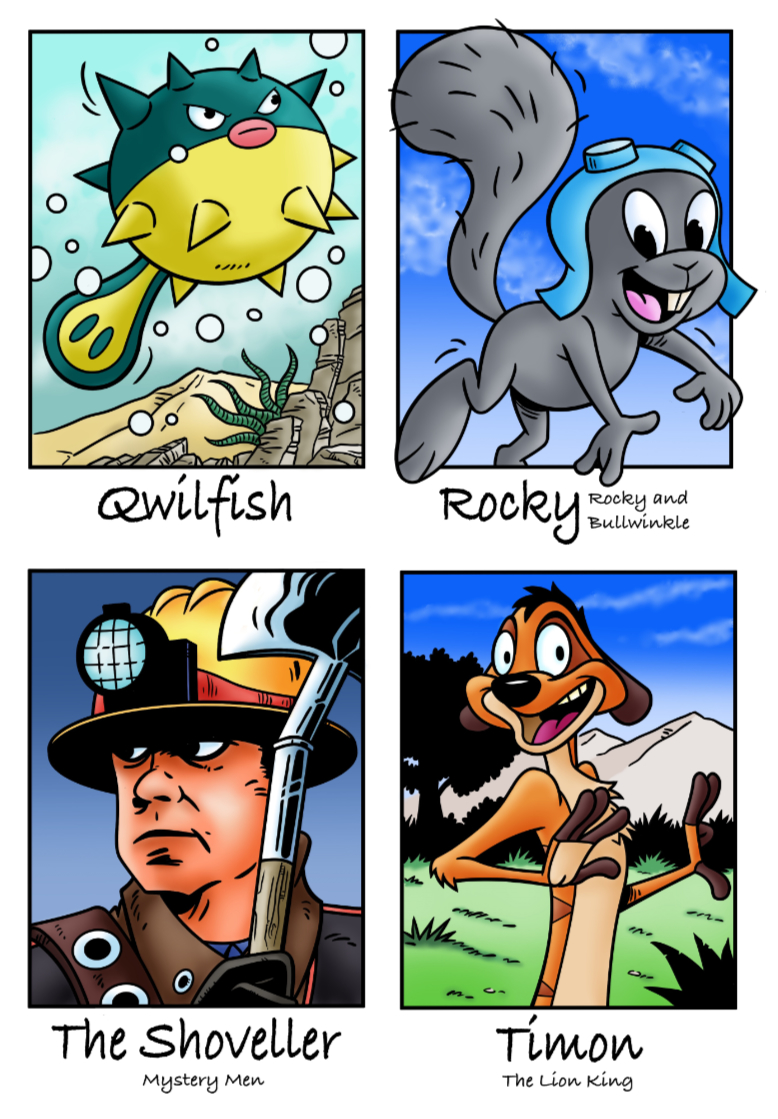 Qwilfish, Rocky, The Shoveller and Timon