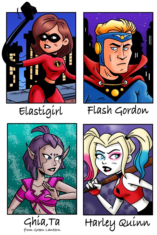 Elastigirl, Flash Gordon, Ghia'Ta, and Harley Quinn