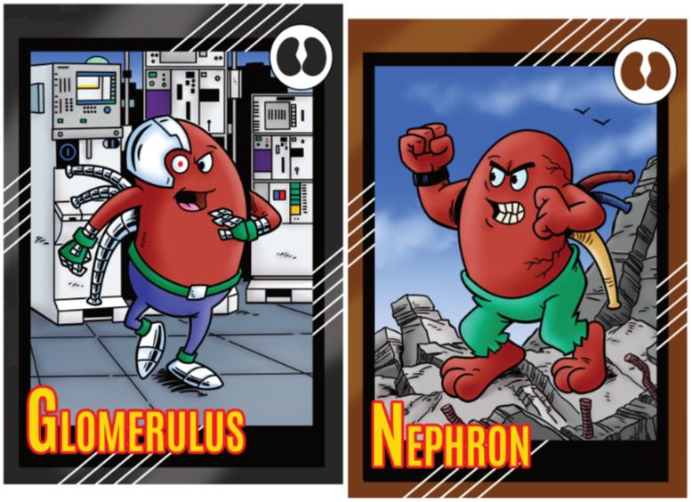 Anthropomorphised Kidney Superhero trading cards