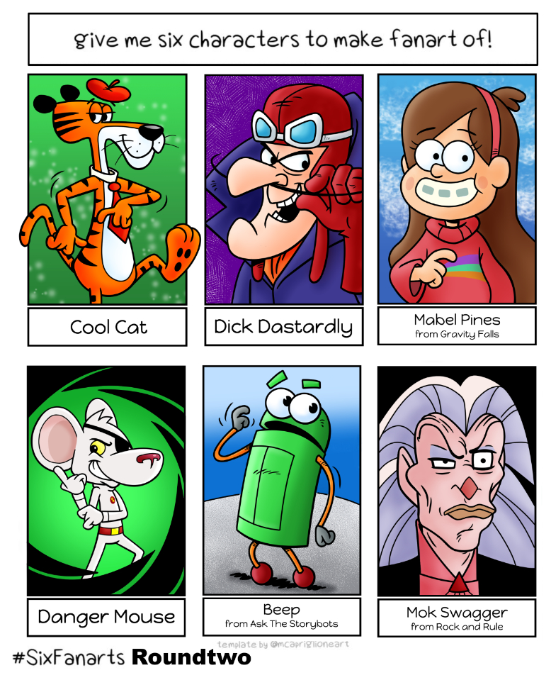 Cool Cat, Dick Dastardly, Mabel Pines, Danger Mouse, Beep, Mok Swagger